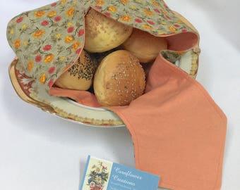 Bread Basket Liner - Bun Warmer - Biscuit Towel - HOT ROLLS - Handmade