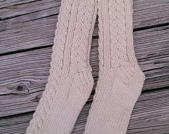 CASHMERE and Merino 50/50  Irish Cable Socks  - Ultimate Luxury - Natural Aran Color - LAST Pair Available -  Free USA Shipping