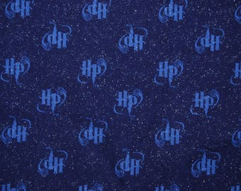 HARRY POTTER fabric HP initials Snitch 1 yd original 2001 out of print