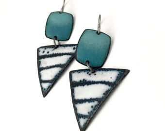Teal turquoise Matte Geometic Enamel Earrings black and white titanium earwires hypoallergenic