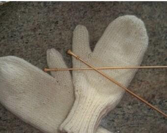Mittens Kit - Two sets of needles - handspun Merino / Alpaca yarn - My Excellent Mitten Pattern
