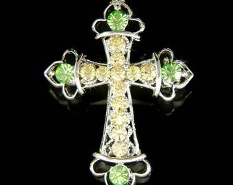 Swarovski Crystal Green CROSS God Lord Jesus Christ Christening Baptism Religious Pin Brooch Jewelry Christmas Birthday Mother's Day Gift