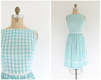 vintage 1950s aqua & white gingham sundress | 50s blue daydress | vtg sleeveless buffalo plaid sundress | small