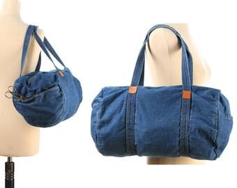 Vintage Duffel Bag 80s Denim Duffle Bag Yoga Gym Bag Blue Denim Hippie Retro Shoulder Bag size Medium