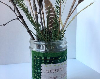 Treasures from the Forest -- wool and linen jar embellishment--upcycled scrap wrap for nature study and display