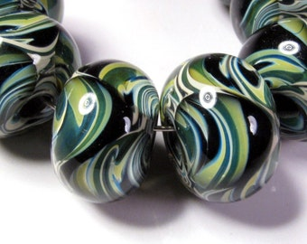 Lampwork Boro Beads, Lampwork Beads, BBGLASSART, Artisan Glass Beads, Midnight Meadow