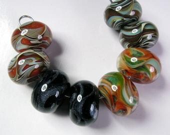 Lampwork Boro Bead Pairs, Lampwork Beads, Bead Pairs, - BBGLASSART, Glass Beads, Mixed Pairs #3