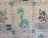 Giraffes and Elephants applique quilt Custom order for Shelly