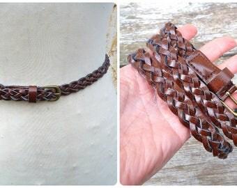 Vintage 1970s /70s brown braided belt leather