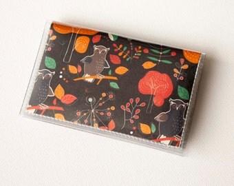 NEW Handmade Vinyl Card Holder - Hoot  / owl wallet, woodland, orange, card case, vinyl wallet, women's wallet, small wallet, pretty, gift