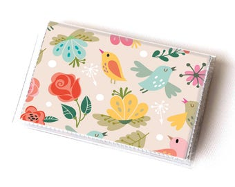 NEW Handmade Vinyl Card Holder - Amazing  / card case, vinyl wallet, women's wallet, small wallet, pretty, gift, bird, yellow, pink, floral