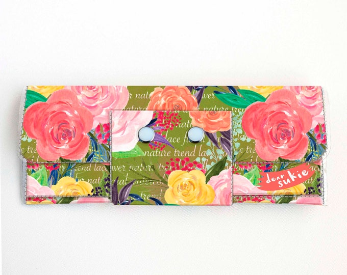 Vinyl Long Wallet - Joyful Spring4 / floral, green, polka dot, vegan, pretty, large wallet, clutch, card case, vinyl wallet, big, woman