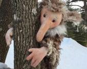 Nori, a hairy, Scandinavian Troll, sewing pattern download, PDF