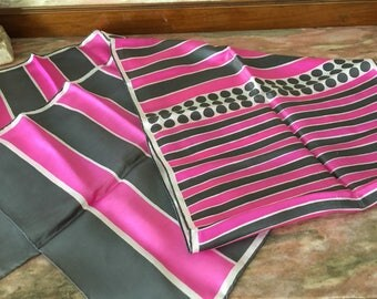 Vintage Silk Scarf 60s PINK GRAY STRIPE Baar & Beards Inc. Japan Rectangular