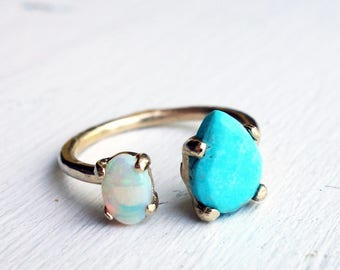 14k Gold Dual Stone Ring with Drop Shaped Handcut Turquoise and Genuine Opal