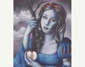 SALE 20% OFF Snow White Art Fantasy Art Print Fairy Tale Art Poison Apples 5x7