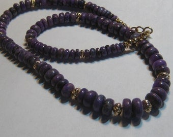 NATURAL Sugilite and Gold Filled Beaded Necklace  .. 10 mm - 5.5 mm ...........     e993