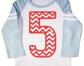 Kids Chevron Stripe Fifth Birthday Shirt Long Sleeve Raglan 5th Birthday T-shirt