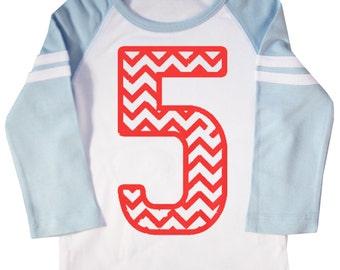 Kids Chevron Stripe Fifth Birthday Shirt Long Sleeve Raglan 5th Birthday T-shirt