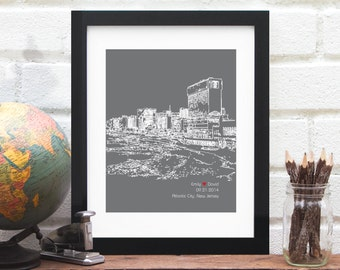 Atlantic City Skyline, Atlantic City New Jersey skyline, Wedding Gift, Bridal Shower, Engagement Gift, Anniversary Gift, Elopement Gift