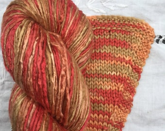 Hand Dyed Worsted weight Silk Yarn - Tomatoes (5)
