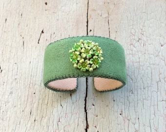 Green Adjustable Cuff Bracelet with Rhinestones