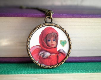 Vintage Barbie Necklace - Classic Barbie + Hand Painted Metallic Heart Pendant Jewelry Gift - Iconic 1950s Barbie Cameo Upcycled Paper Charm