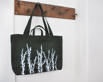 Pussy Willows - Weekender Bag - Zipper Closure Tote in Deep Forest Green