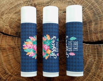 Personalized Lip Balm Stickers -- Bride Tribe - DARK -- Custom Chapstick Labels, Shower Favors, Wedding Favors