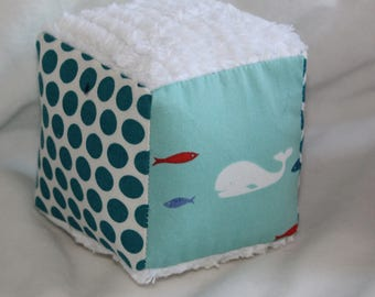 Small Blue Whale Trail Fabric Block Rattle