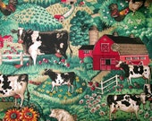 Fabric - 1 Yard Plus - Farm Scenes with Barns and Cows - Quiltsy Destash Party