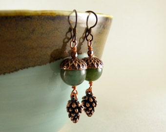 Mossy Green Acorn and Copper Pinecone Earrings with free shipping