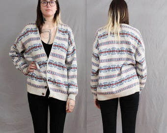 1980's Liz Wear Oversized Cardigan in Abstract Grey . Medium or Large , slouchy men's sweater . knit chunky jumper . stripes printed