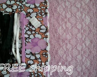 FREE Ship DIY Fabric + Notions Retro Flowers & Lilac for 1 BRA + Panty by Merckwaerdigh
