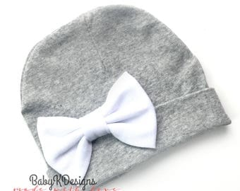 Newborn Hat | Baby Girl Hat | Hospital Hat | Newborn Hospital Hat White Bow | Baby Girl Beanie Baby K Designs TOP SELLING More Colors 2 size