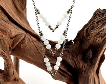 Amazonite Long Chevron Necklace - Boho V - 3 Tier Necklace - Pale Blue Stones form V Shaped Pendant Style Necklace- Long Boho Blue Gemstones