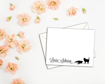 Kitties Hanging Out With You Note Cards, Sets of Ten Note Cards with Envelopes, Custom Cats with Name Stationery, Fun Cat Lovers Cards