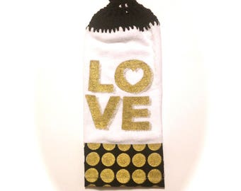 Love Hand Towel With Black Crocheted Top