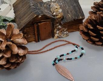Amazonite seedbead necklace, Handmade copper and turquoise necklace,Copper leaf and seedbead,Amazonite copper leaf and seedbead choker.