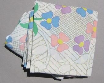 1970s Vintage Double Sheet Set Applique Flower Print J.P. Stevens Utica Fitted Sheet and Flat Sheet