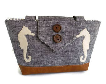 SEAHORSES - Pure Linen Wayfarer Purse - Indigo Weave - Handmade Appliques - Nautical - Vegan Shoulder Bag - Seaside