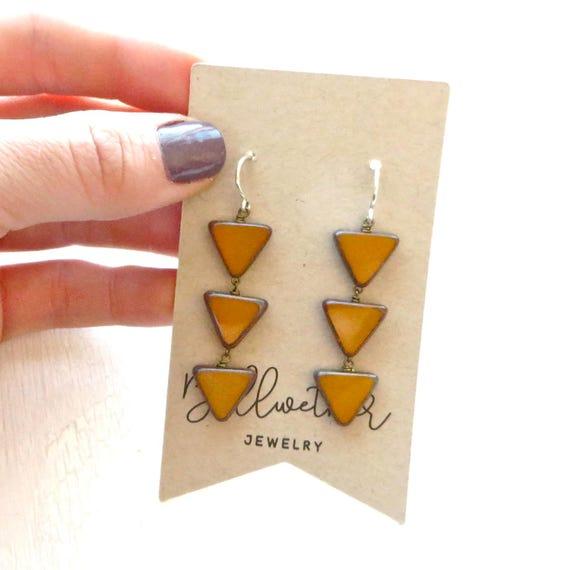 WHOLESALE LISTING // Angle Earrings - Mustard // EAM