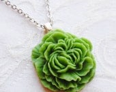 75% Off Sale, Kelly Green, Peony Flower Necklace
