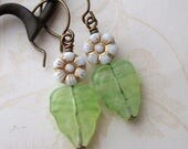 75% Off Sale, Cherry Blossom Earrings, White and Gold Flower, Green Leaf, Clearance Sale