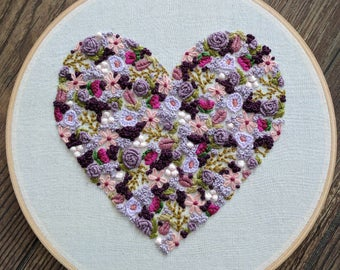 Embroidered heart. Monogram heart. Floral heart.