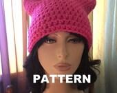 Cat Hat Womens Slouchy PATTERN Womens Crochet Pussy Pink Hat Yarn Crochet Slouchy Womens Hat Pattern