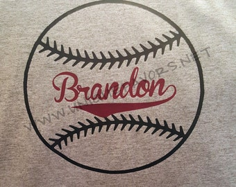 Baseball design custom t-shirt. Other colors available! Includes personalization. Choose your colors!