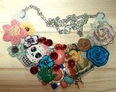 Rockabilly Emo Frida Kahlo Mixed Media Art Necklace Day Of The Dead Skulls Glitz Flowers Red Acrylic Crystals Parrot Bird Figural Artisan