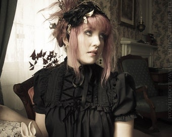 Gloomth Lucy Victorian Mourning Smock Dress with Velvet Details Sizes XS to 2XL Available