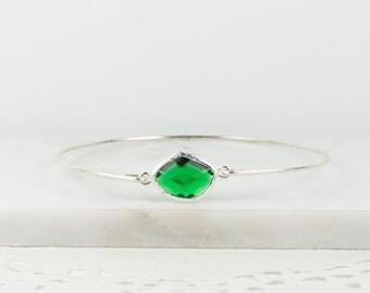 May Birthstone Emerald Sterling Silver Bangle, May Birthstone Silver Bracelet,  Sterling Silver Bracelet, Emerald Bangle Bracelet